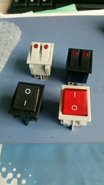 Double Boat Rocker Switch 4 / 6 Pins Red / Yellow / Green Button 16A