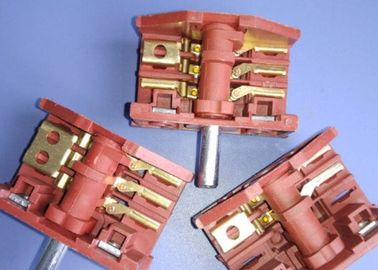 China Red 4 Position Rotary Switch , 16A Oven Selector Rotary Switch Metal Spindle supplier