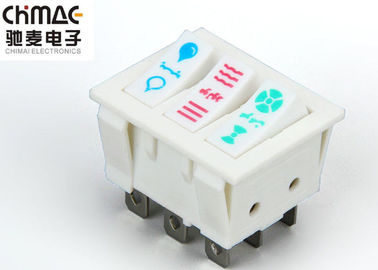 China White 8 Pin Rocker Switch , Cooler 3 Position Momentary Rocker Switch supplier
