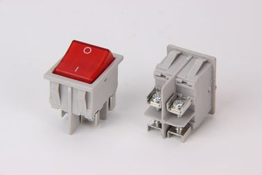 China 16A  Screws Custom Led Rocker Switches 4 Pins On - Off Grey / Black supplier