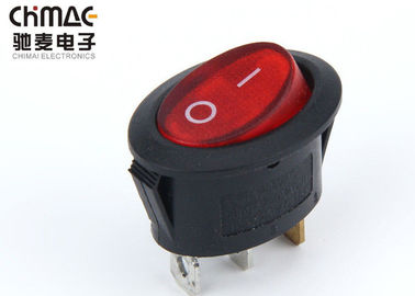 China Minature Oval 3 Pin Rocker Switch , On Off On Rocker Switch One Position supplier