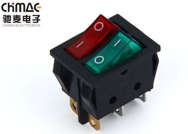 China 2 Pole Push Button Rocker Switch Red / Green Mix Color 4 Pins Waterproof supplier