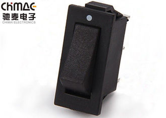 China KCD3 Black Electrical Rocker Switches 6A 125VAC ON - ON Brass Paddle supplier