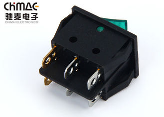 China KCD3 - 201 Double Poles KCD Rocker Switch Durable 6 Pins With Neon Bulb 15A supplier