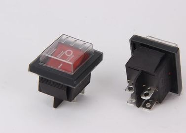 Pa66 Yellow 2 Pole Rocker Switch , 4 Pin Rocker Switch Waterproof  PC Button