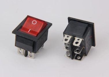 6 Pins Push Rocker Switch 16A 250VAC , Lamp DPDT ON ON Rocker Switch